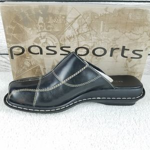 NEW CL Passports Leather Mules Black Slip on shoe…